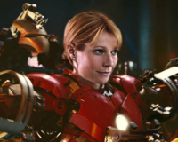 Gwyneth Paltrow wearing the Iron Man 3 suit.
