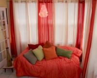 orange curtains sunroom ideas